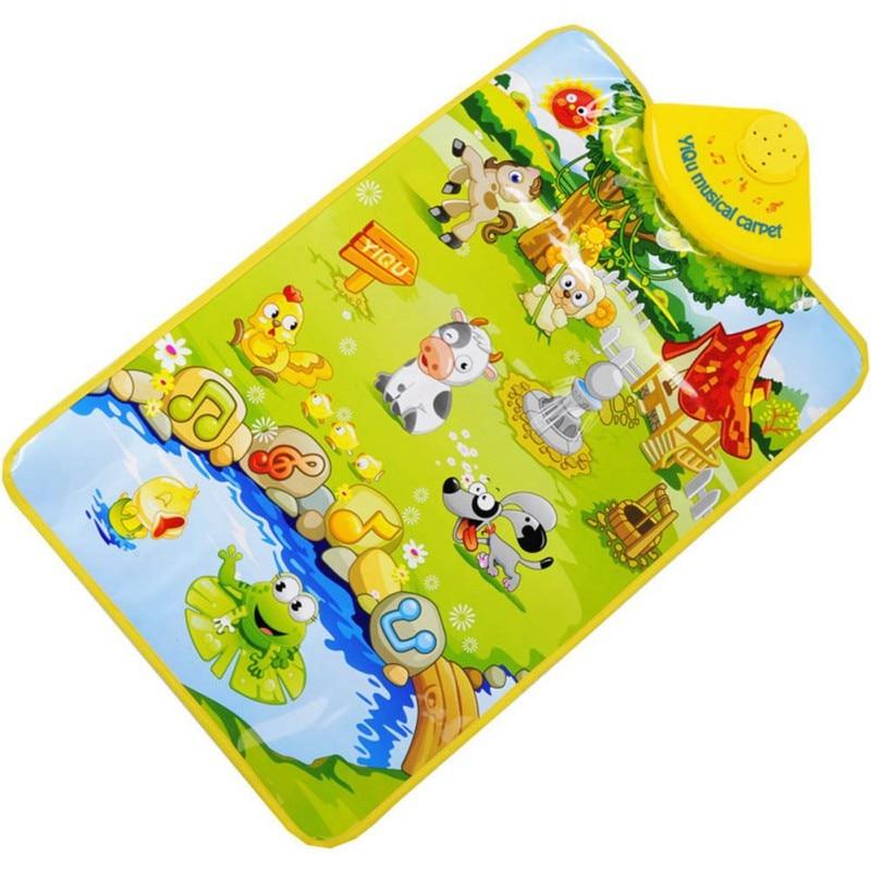60*40cm Kids Toy Gift Game blanket Soft Children Music Singing Gym Carpe Animal Piano Multi-Color Learning Animal Printing Mat