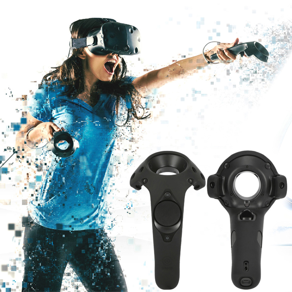 For HTC Vive Headset VR Silicone Case Cover VR Headset Anti-slip Wireless Control Gamepad