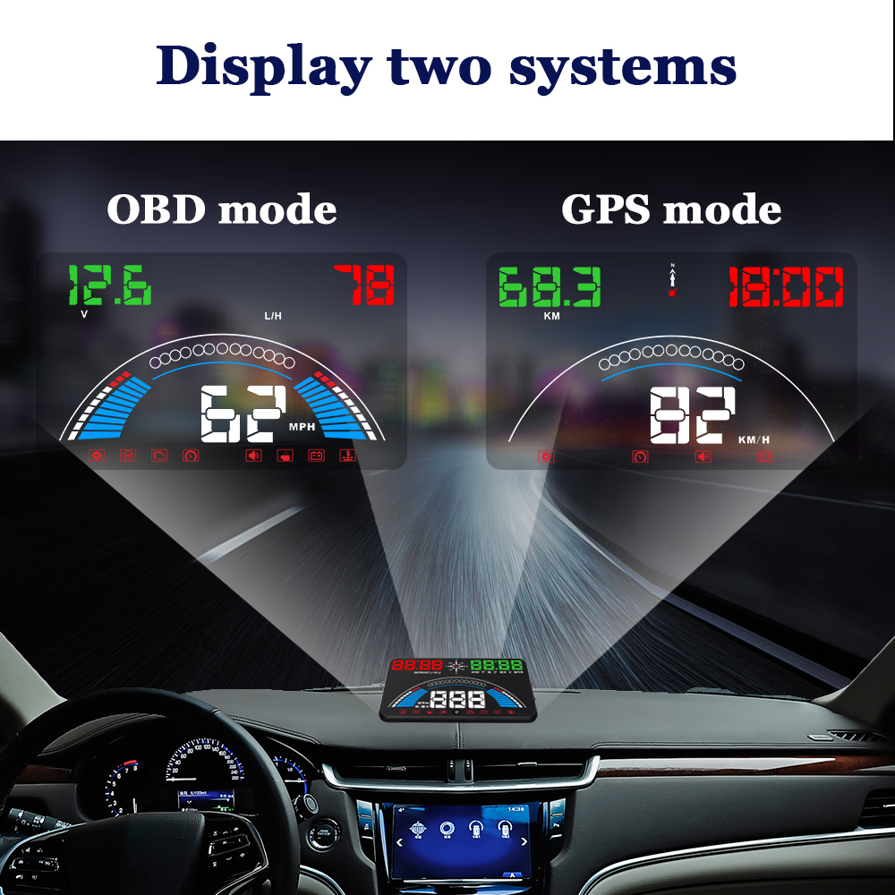 2 Mode S7 Head Up Display Voiture Vitesse Projecteur Auto Pare-Brise HUD Projecteur Automobile Styling OBD2 Numérique indicateur de vitesse gps