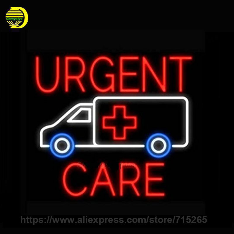 Neon Sign for Urgent Care Car Beer Bar Pub Light Sign Real Glass Tube Neon Signs Lights for Store Display Neon Bulbs Sign 24x24