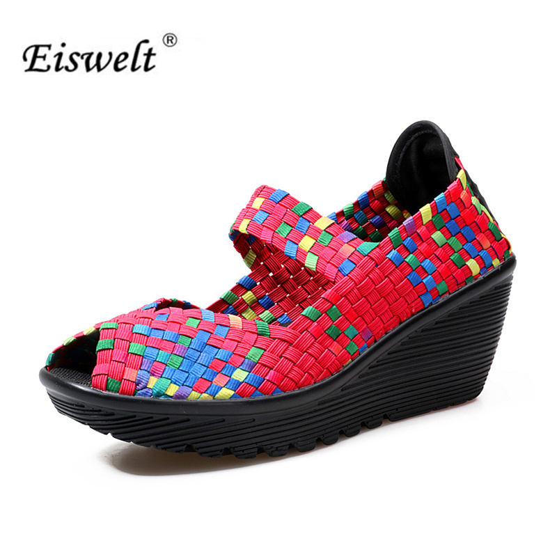 EISWELT 2017 Handmade  Women Flats Breathable Fish Mouth Lazy Loafers Slip Resistant Thick Crust Flat Shoes#LQ16 2017 summer shoes new canvas flats women lazy thick crust shoes fashion women loafers b1865