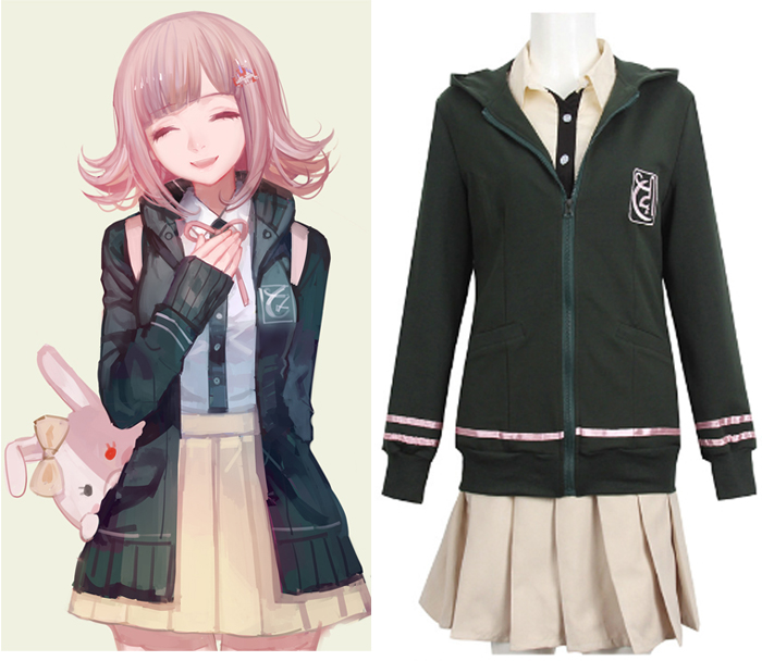 Anime Danganronpa 2 Dangan-Ronpa Nanami ChiaKi Cosplay Costume Hooded Hoodie Daily Jacket