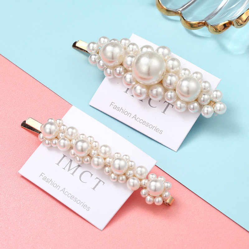 1 Set Trendy Gold Metal Pearl Hairpin Barrette Tiaras and Handmade Beautiful Pearl Flower Stick Hairpin Bridal Hair Accessories