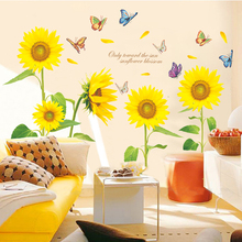 New 5D wall sticker Sunflower flower PVC removable waterproof DIY stickers TV backdrop decorative painting creative wallpaper