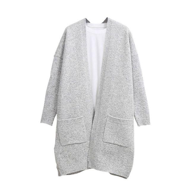 Moda outono Inverno Mulheres Cardigan Solto de Manga Comprida Camisola de Malha Exteriores do Revestimento do Revestimento do Sobretudo