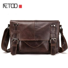 AETOO New real leather men bag oil wax cowhide retro men shoulder Messenger bag head layer leather casual shoulder bag цена в Москве и Питере