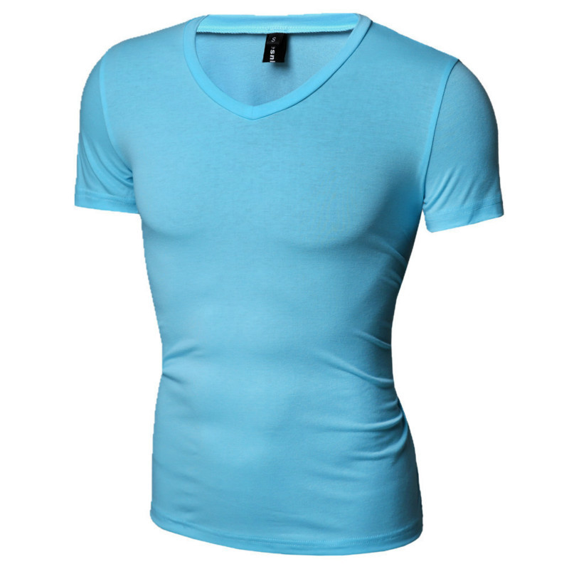 2018 Summer T Shirt homme Men Casual t-shirt Men's Short Sleeve tshirt High Elastic mens Tee shirts Tops fashion tshirts 6colour