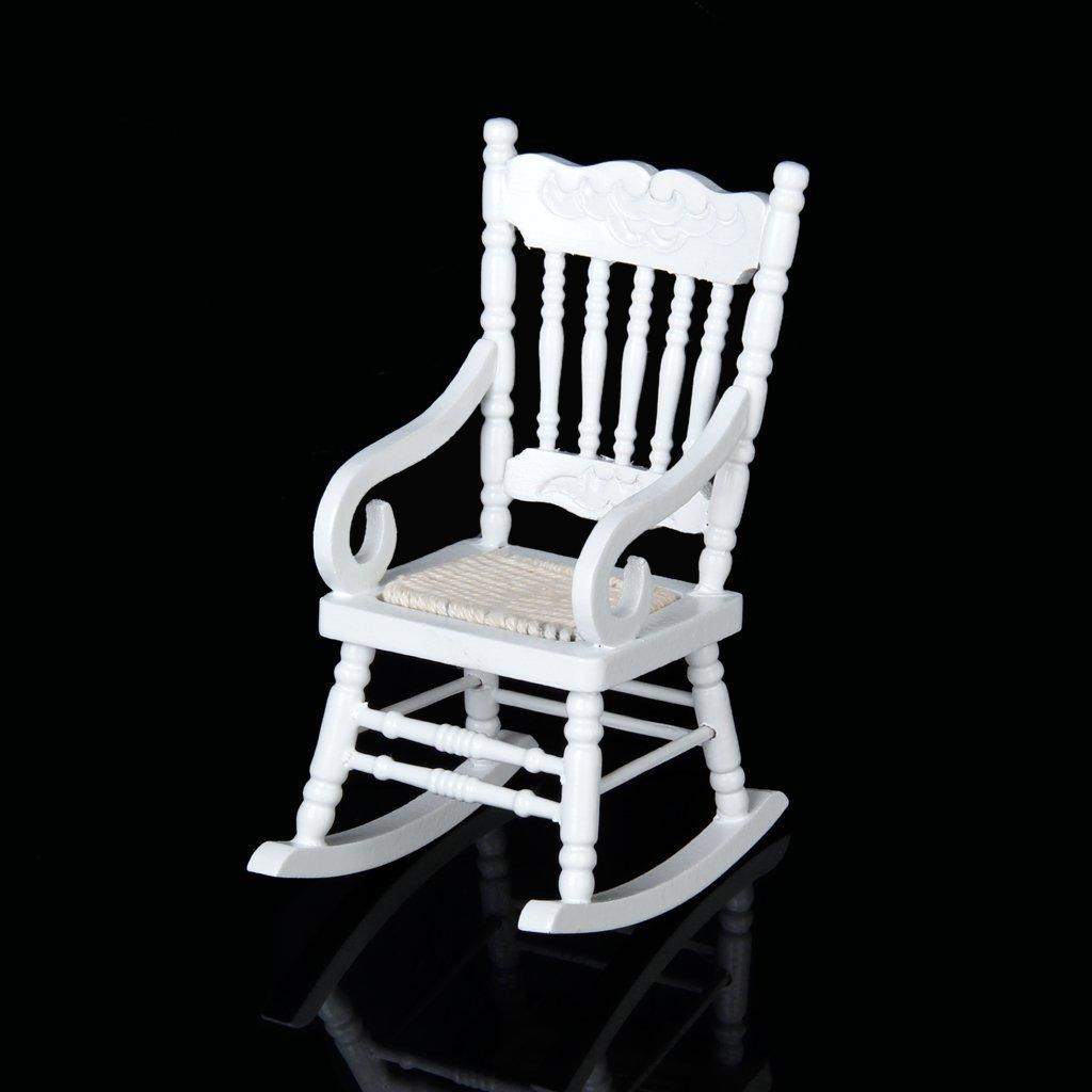 Wooden Rocking Chair Model White 1/12 Miniature Dollhouse Toys for Children