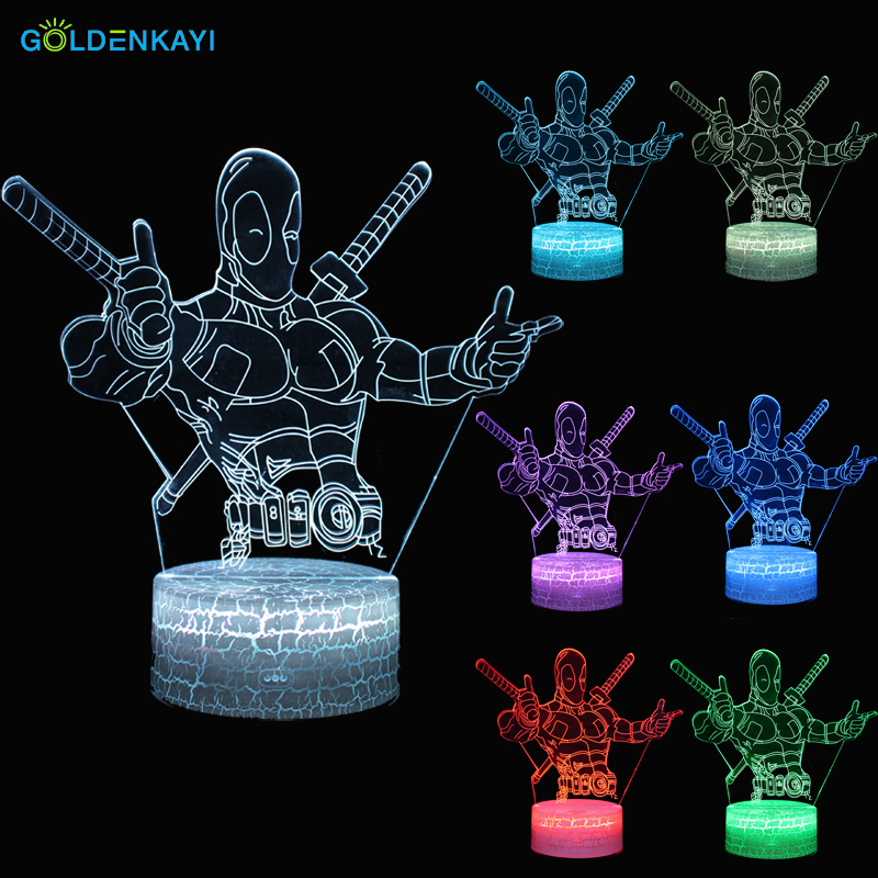 3D LED Night Lights Deadpool Atmosphere Table Lamp Touch Switch Seven Colors Acrylic For Children Bedroom Decorative Lamp vasos sanitários coloridos