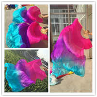 New Arrival (L+R) hand Oriental Dancing 100% real Silk Fans Veils Sexy Stage Show Props Silk Veil Fans Pink/Purple/Turquoise