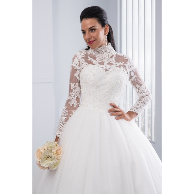 High Neck IIIusion Back Long Sleeve Wedding Dress Lace Ball Gown Wedding Gowns robe de mariage New
