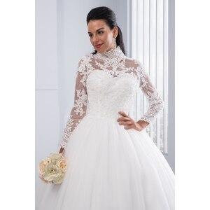 Image 5 - Miaoduo Vestido De Noiva Plus Size Hoge Hals Iiiusion Back Lange Mouwen Bruidsjurken 2020 Baljurk Trouwjurken Voor vrouwen