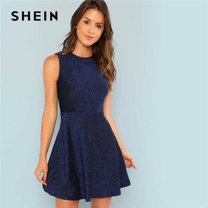 8197295ba3 SHEIN Blue Contrast Fit and Flare Sleeveless Glitter High Waist Short Dress  Women 2018 Summer Flounce Sleeve Elegant Dress