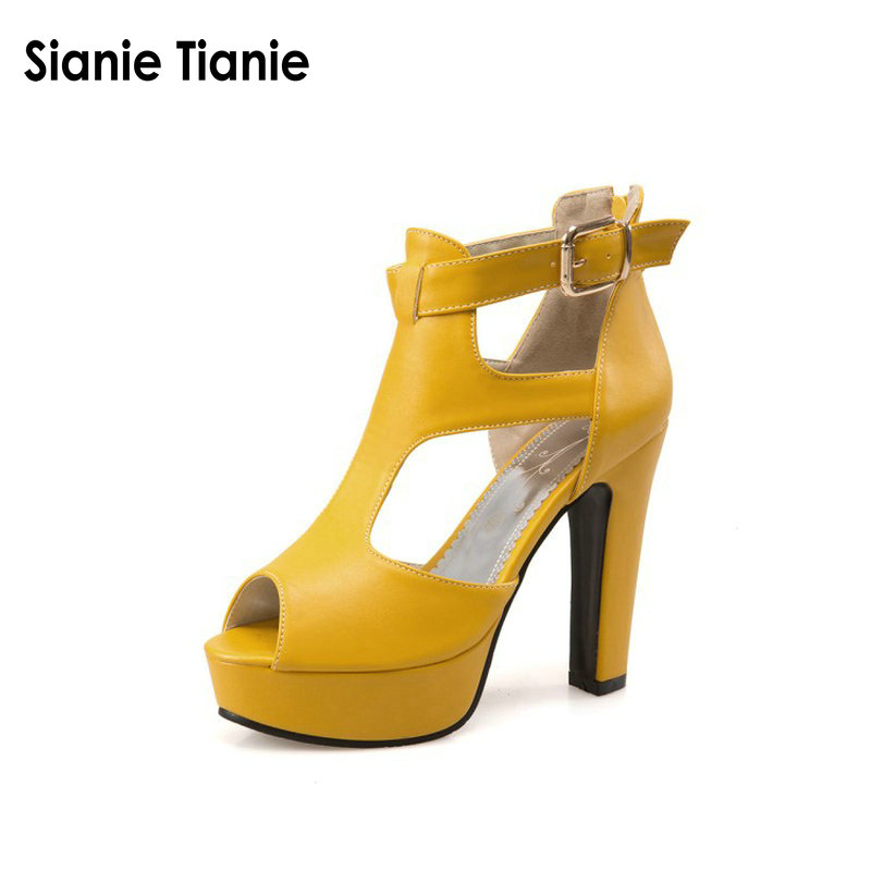 Sianie Tianie Woman Gladiator Shoes High Heel Sandals Spring Summer Peep Toe T-Strap Platform Spike Heels Zip Yellow Size 12 46