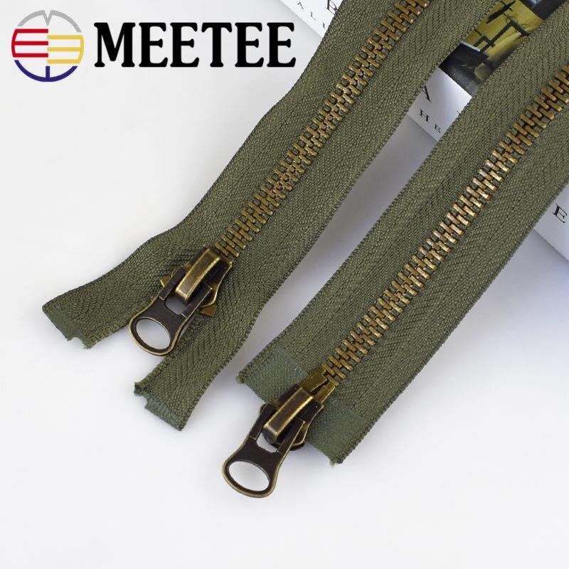 Meetee 8# Metal Zipper 15/18/20/25/70/80/90/100/120cm Double Sliders Coat Down Jacket Zip Repair DIY Clothing Sewing Accessories