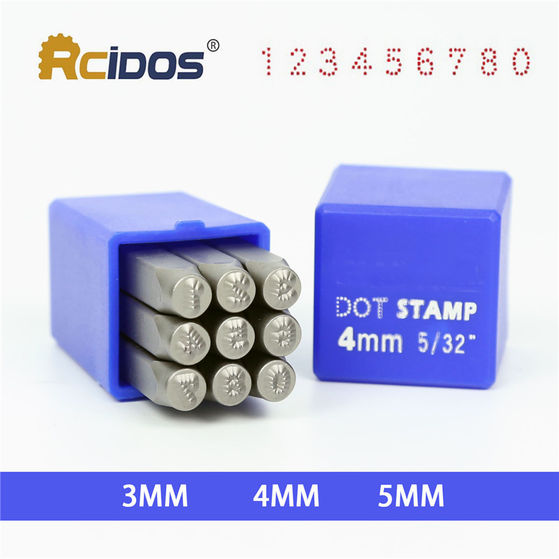Numbers 3/4/5mm Dotted/lattice Motorbike,RCIDOS Car Chassis Number Dot Stamp 0-8,9pcs/box