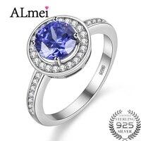 Almei 1ct Taglio Rotondo Creato Blue Sapphire Engagement Halo Anello solido Argento 925 Gioielli Per Le Donne con la Scatola 40% FJ060