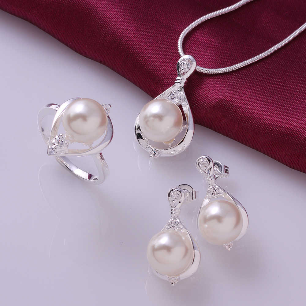 2019 New Fashion Silver Jewelry Set 925 stamped silver plated Pearl Ring Earrings Necklace Jewelry Set For Women