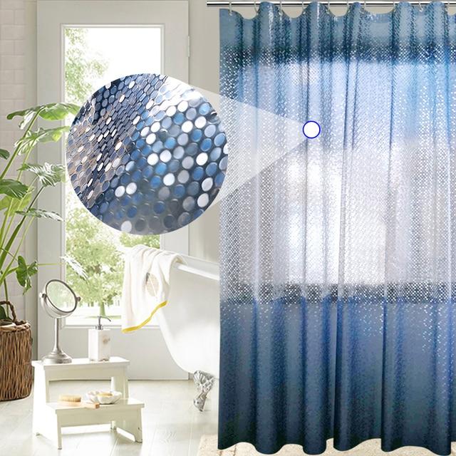 ufriday luxury peva shower curtain bling 3d circles gradient blue shower curtain for bathroom