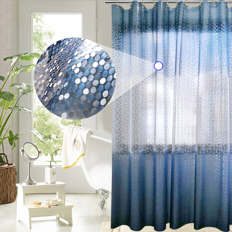 UFRIDAY Luxury PEVA Shower Curtain Bling 3D Circles Gradient Blue Shower Curtain for Bathroom 180*180cm Waterproof Bath Curtains