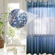 UFRIDAY cortina de baño PEVA de lujo, círculos brillantes 3D, cortina de ducha azul degradado para baño, 180x180cm, impermeable
