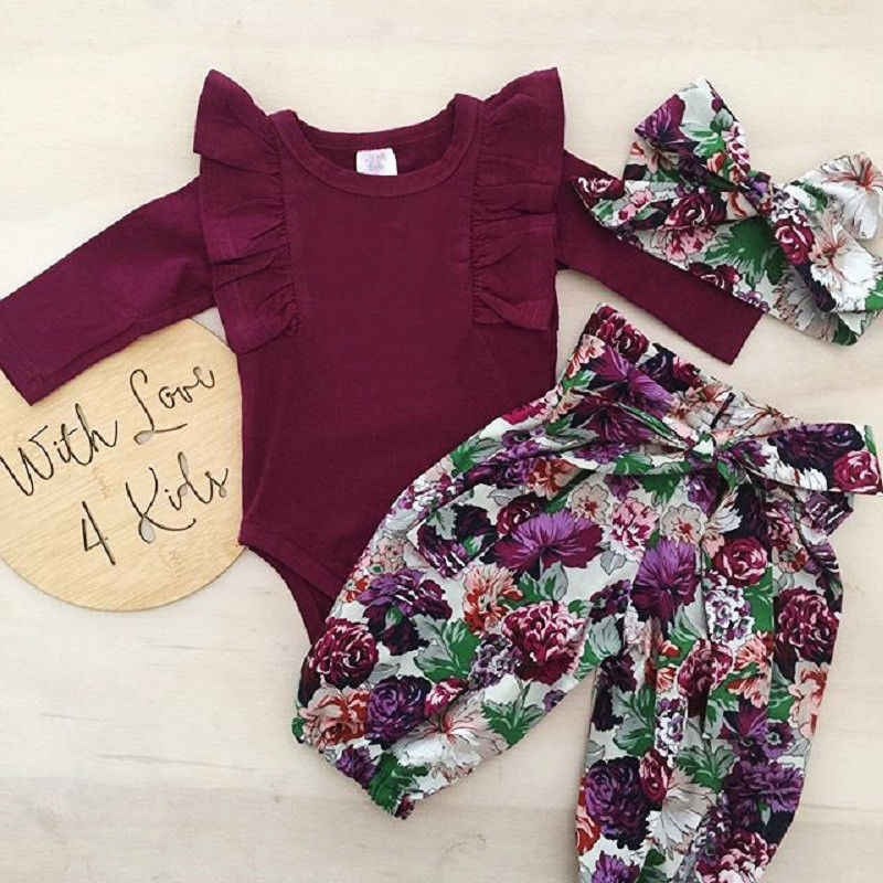 3 Pcs Baby Mädchen Fliegen ärmel Bodysuit + floral lace-up hosen + headwear Set