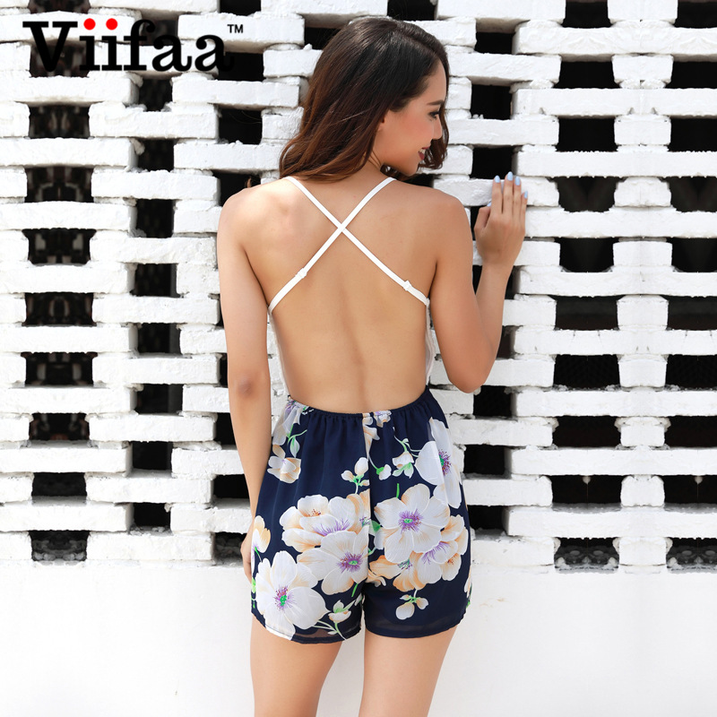 Viifaa Floral Print Chiffon Sexy Playsuit V Neck White Lace Rompers Womens Jumpsuit Summer 2018 Backless Beach Overalls