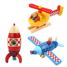 Children Favorite New Bauble Kid Fashion Wood Magnetic Plane/Helicopter/Rockets Toy Wooden Transportation Educational Toys Gift