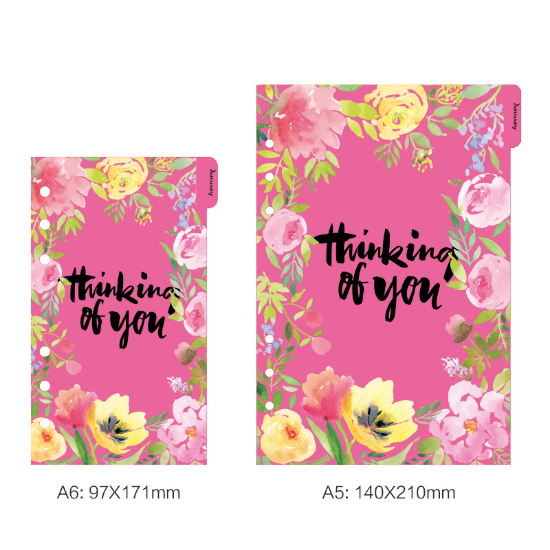 Lovedoki Flower Series Spiral Planner Filler Papers For Filofax Spiral Notebook A5 Inner Core Weekly Plan Planner Stationery Set