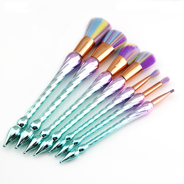 7PCS Unicorn Makeup Brushes New Spiral Thread Rainbow Hair Powder Eyebrow Eye shadow Blusher Brushes Make Up Kwasten Brush 1