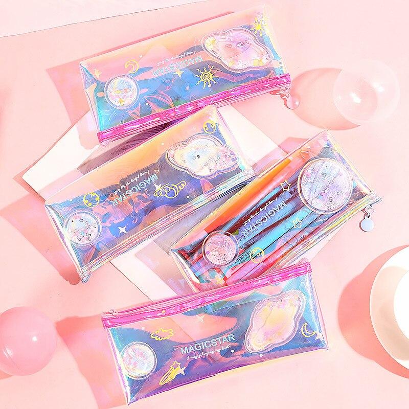 Cute Pvc Transparent Laser Star Cartoon Liquid Water Pencil Bag & Case Kawaii Storage Pen Bag For School Kids Boy Girl Gift