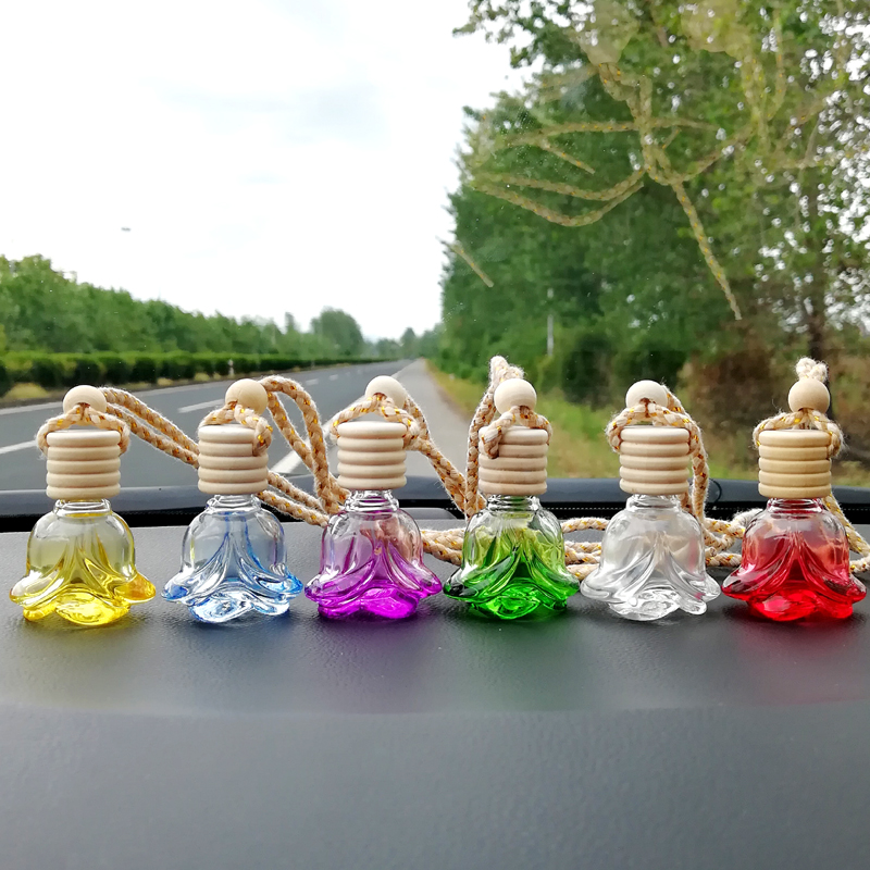 Car Perfume Rose Bottle Air Freshener Diffuser Hanging Empty Glass Refillable Bottle for Auto Pendant Smell Essential Oil image