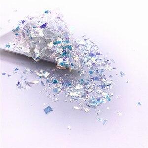 Image 2 - Lentejuelas de papel de concha Irregular para uñas, lentejuelas coloridas para decoración 3D para uñas, 20g por paquete
