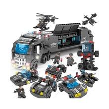 цены SWAT station Helicopter building blocks aircraft ship truck 3models transformed compatible  police bus children toys