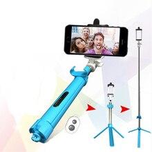 Bluetooth Selfie Vara Monopé para Câmera Do Obturador com Tripé Extensível Auto para o Telefone Inteligente