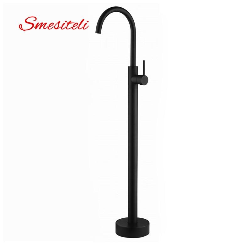 Smesiteli Wholesale Classic Solid Brass Matte Black Finish Black Single Handle Freestanding Bathtub Filler Faucet Floor Mount