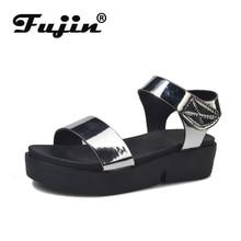 Fujin Summer Women Shoes Mirror Fashion Sandals Flat Bottom Hook Loop Casual  Luxurious Reflective Cloth