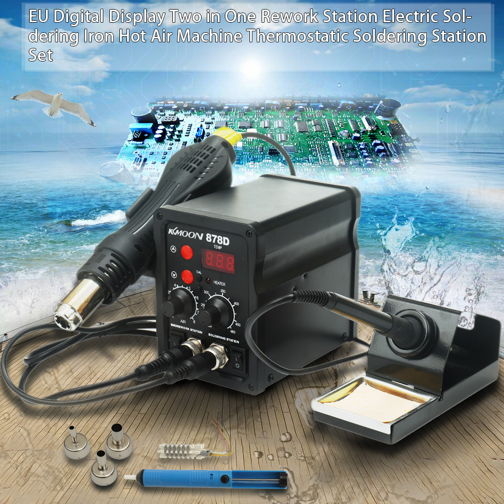 Quality EU Digital 2 in 1 Rework Station Electric Soldering Iron Hot Air Machine Thermostatic Soldering Station Set LED display simple bathroom ceramic wash four piece suit cosmetics supply brush cup set gift lo861050