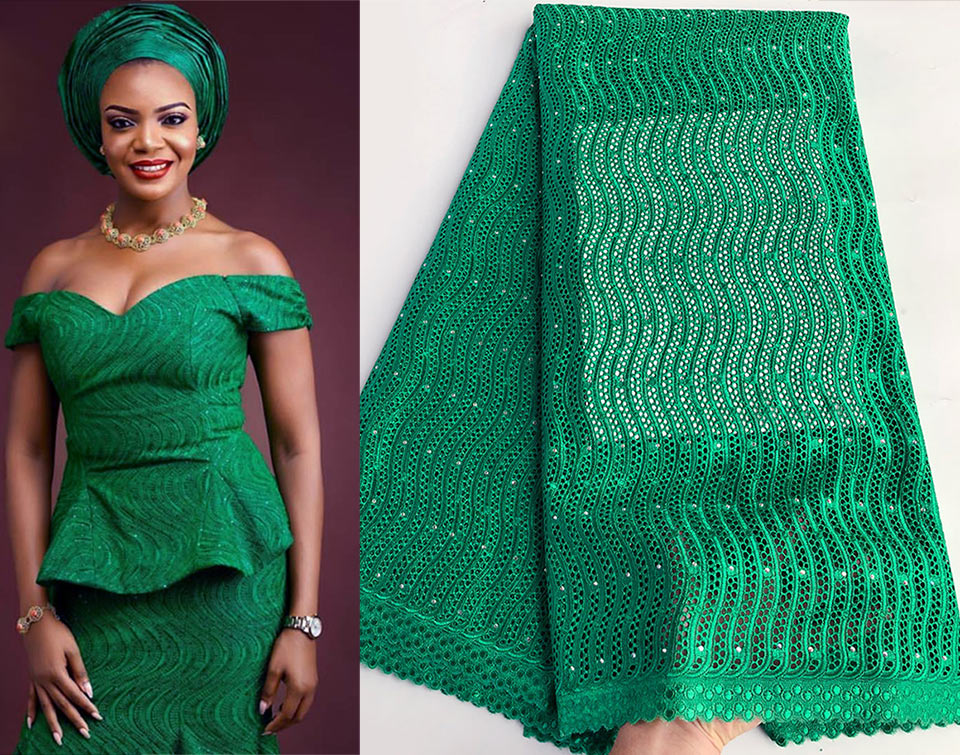 5 yards Nigerian Green original Swiss voile lace eyelet embroidery African lace fabric cotton 100 unique