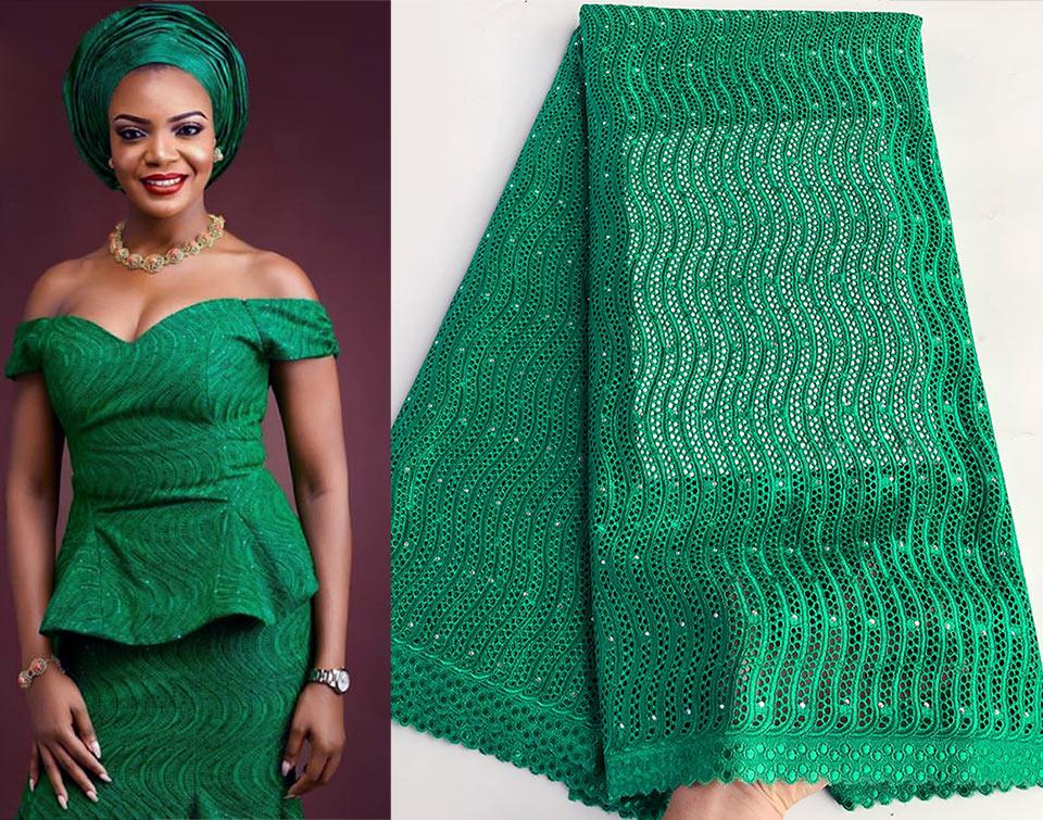 5 yards 나이지리아 녹색 원래 스위스 voile 레이스 eyelet 자 수 아프리카 레이스 패브릭 코 튼 100% 독특한 우수한 고품질-에서레이스부터 홈 & 가든 의  그룹 1
