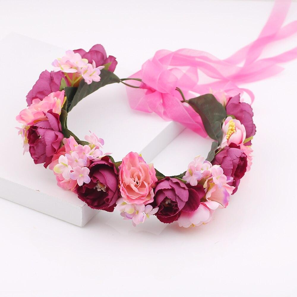 Bride Women Rose Flower Crown Hairband Wedding Flower Headband Headdress Flower Girl Head Wreath Hair Accessories