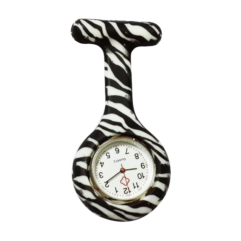 New Arrive Pocket Watches Silicone Zebra Stainless Clip Nurse Fob Watch Quartz Brooch Pendant Hot Doctor Paramedic