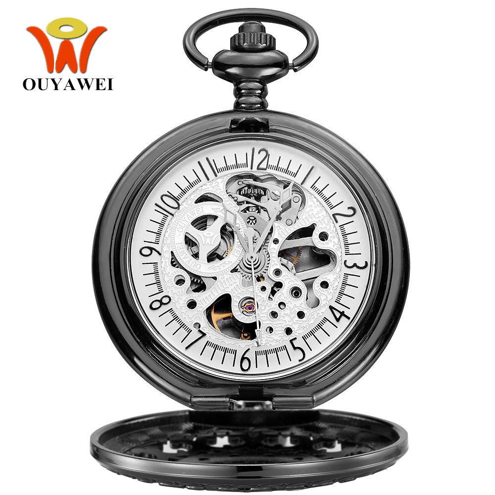 NEW Arrival Fashion OYW Mechanical Pocket Watch Men Full Steel Case Pocket Fob Watch Analog Steampunk Mens Hombre Montre Homme