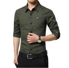 New Men Cotton Slim Plus Size Shirts Casual Turn Down Collar Clothing Solid Color Fashion Clothes