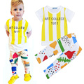 Summer Girl Baby Clothing Set Fashion ARTCOLLECE Letter T-Shirt+Graffiti Print Pants 2pcs Suit Brand Boy Kids Casual Clothes Set