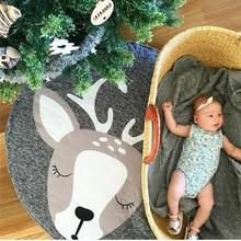 Infant Play Mats Round Carpet Rugs Cute Animal Crawling Mat Carpet Game Pad Kids Playmats Baby Kids Cotton Blanket Gym Play Mat