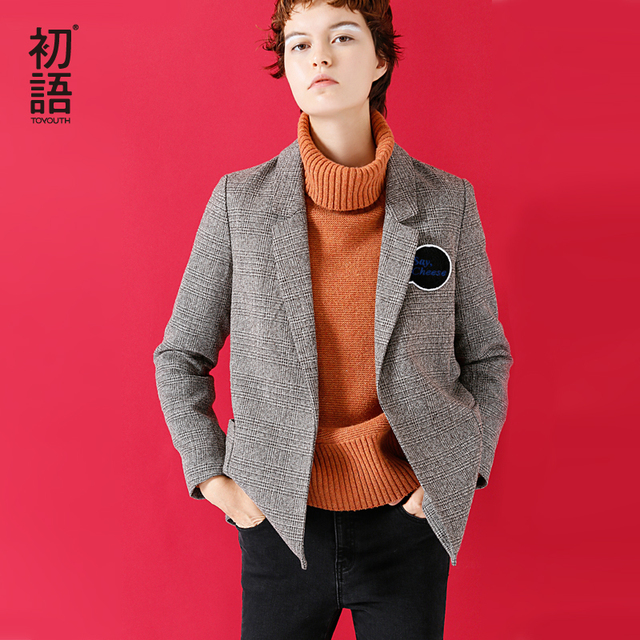 Toyouth Blazer Women Vintage Checkerwork Character Embroidery Women Suits All Match Blazers Female Outerwear Coats And Jackets