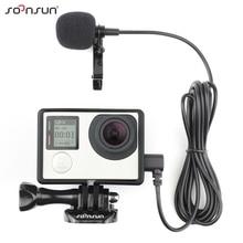 SOONSUN סטנדרטי מגן מסגרת הר עם חיצוני מיקרופון מיקרופון עבור GoPro Hero 3 3 + 4 Hero3 Hero4 עבור ללכת פרו אבזרים