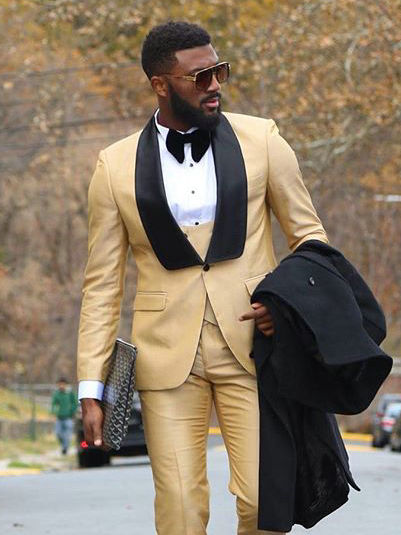 Custom Men Suit For Wedding Gold With Black Lapel Slim Fit Tuxedo Man Suit Tuxedos Three piece (Jacket + Pants + Vest + Tie)
