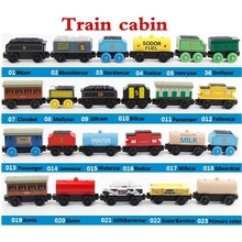 Wooden Magnetic Trains Toys Track Railway Vehicles Toys Wood Locomotive Cars for Children Kids Gift Trains Model